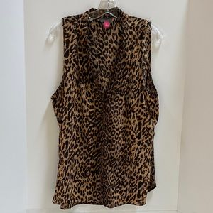 Vince Camuto tan & black animal print blouse XL